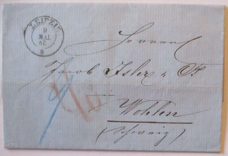 Sachsen Altbrief 1867 von Leipzig nach Wohlen Schweiz mit viel Text (7256)