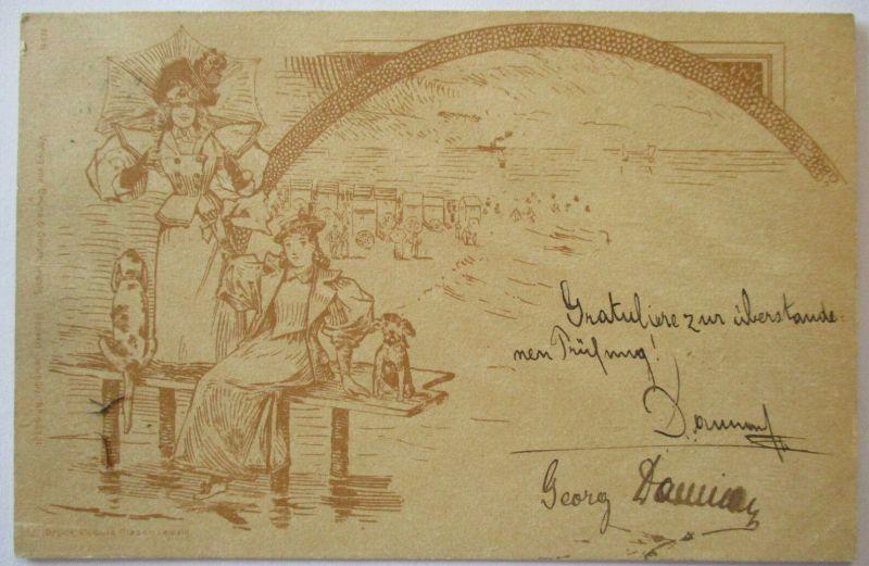 Meer, Strand, Baden, Frauen, Hunde, Verlag Bruns Leipzig 1898 (48327)