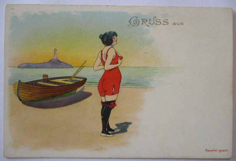 Meer, Strand, Baden, Gruss aus, Bademode, Frau, ca. 1900 (48338)