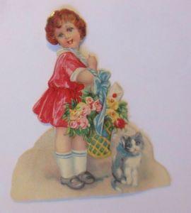 Oblaten, Kinder, Katze, Blumen,      1900   8 cm x 7 cm  ♥