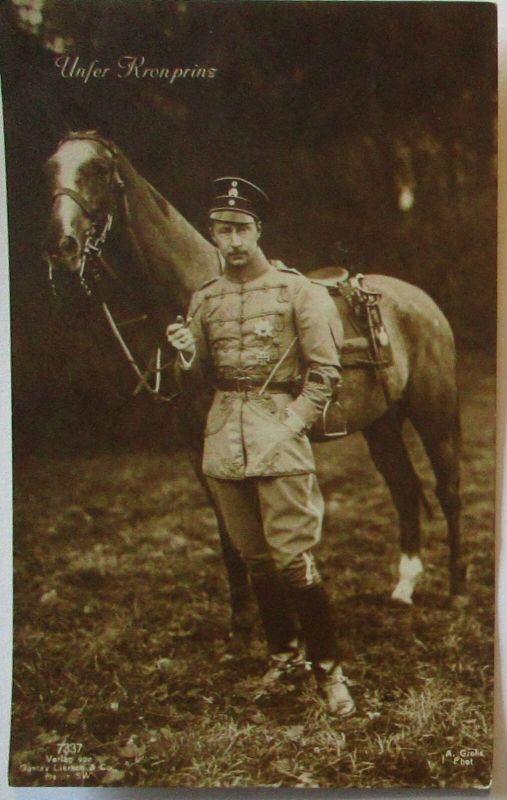 Adel, Der Deutsche Kronprinz mit Pferd, Verlag Liersch (30652)