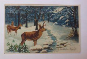 Neujahr, Hirsch, Rehe, Winterlandschaft   1913, Prägekarte  ♥ (53596)