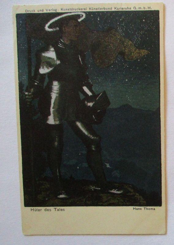 Künstlerkarte Hans Thoma, Hüter des Tales, Ritter auf Wache, 1911 (40024)