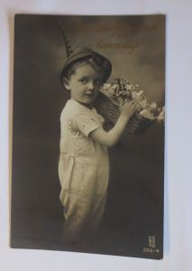 Namenstag, Kinder, Mode,  Blumen, Hut,   1918  ♥ (69022)