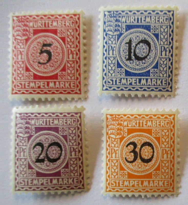 Württemberg, 4 postfrische Stempelmarken (48208)