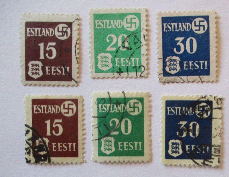 Deutsche Besetzung Estland 1-3 x + y gestempelt (44768)