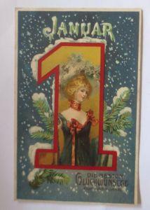 Neujahr, Frauen, Mode, Tannenzweig, Januar   1900  ♥  (53483)