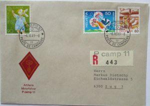 Schweiz Feldpost 1989 Artillerie Motorfahrer P camp 11 (44736)