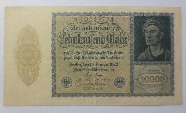 Geldschein,  Reichsbanknote,  Zehntausend Mark  1922   ♥  (1G)