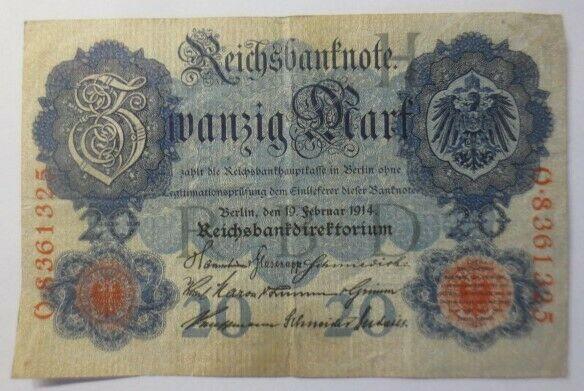 Geldschein,  Reichsbanknote Zwanzig Mark  1914, O-8361325    ♥  (5G)