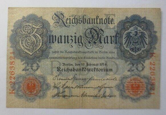Geldschein,  Reichsbanknote Zwanzig Mark  1914, K-2263821   ♥  (9G)
