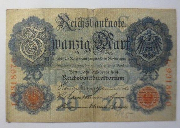 Geldschein,  Reichsbanknote Zwanzig Mark  1914, L-9318970   ♥  (10G)