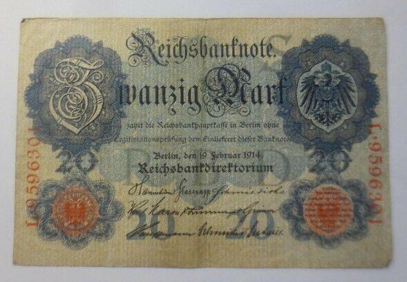 Geldschein,  Reichsbanknote Zwanzig Mark  1914, L-9596301   ♥  (11G)
