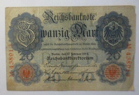 Geldschein,  Reichsbanknote Zwanzig Mark  1914, M-438913   ♥  (12G)