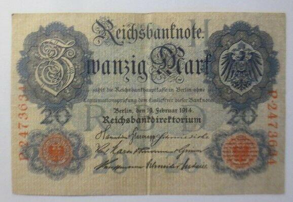 Geldschein,  Reichsbanknote Zwanzig Mark  1914, P-2473634  ♥  (13G)