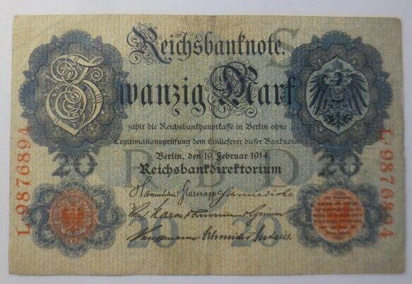 Geldschein,  Reichsbanknote Zwanzig Mark  1914, L-9876894  ♥  (14G)