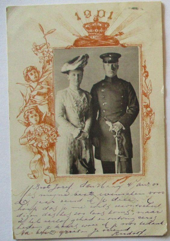 Niederlande Königin Wilhelmina und Prinz Hendrik Hochzeitskarte 1901 (3492)