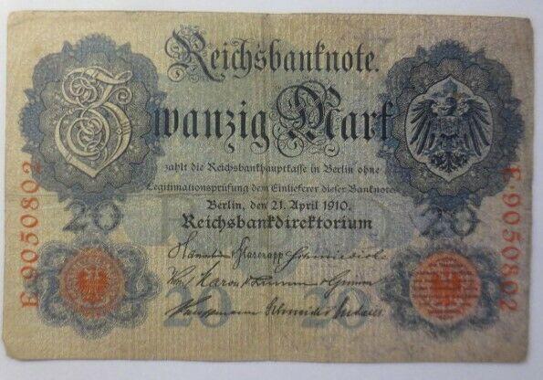 Geldschein,  Reichsbanknote Zwanzig Mark  1910, E-9050802 ♥  (15G)