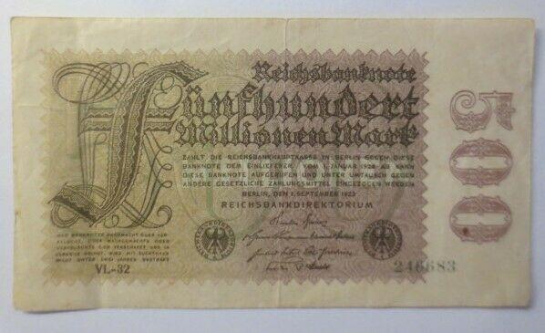 Geldschein, Reichsbanknote Fünfhundert Millionen Mark  1908, VL-32  246683♥(17G)