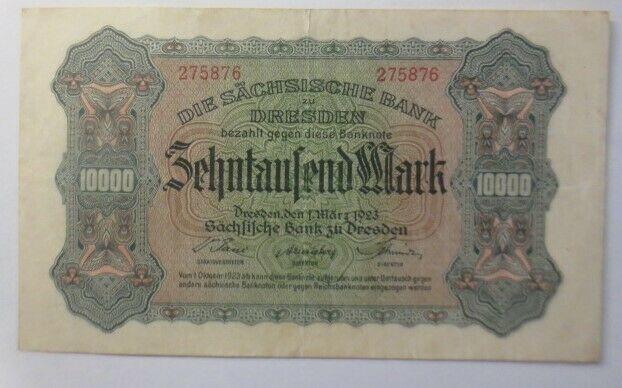 Geldschein, Banknote, Die Sächsische Bank Zehntausend Mark  275876  1923 ♥ (18G)