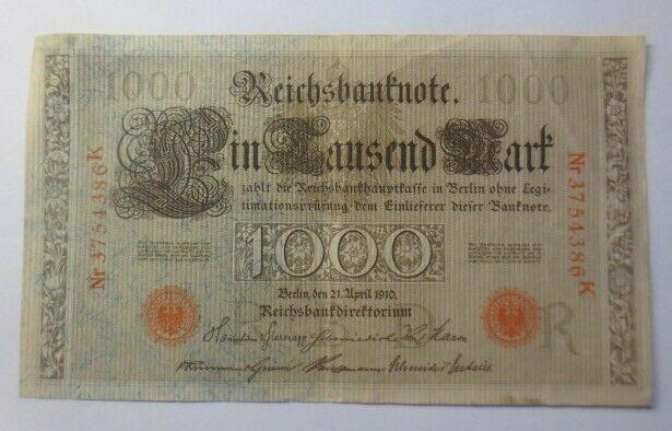 Geldschein, Reichsbanknote in Tausend Mark     3754386K   1910  ♥   (20G)