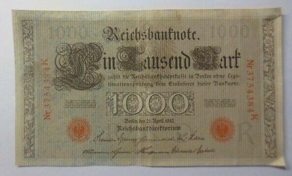 Geldschein, Reichsbanknote in Tausend Mark     3754384K  1910  ♥   (22G)