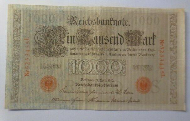 Geldschein, Reichsbanknote in Tausend Mark     5253435L 1910  ♥   (23G)