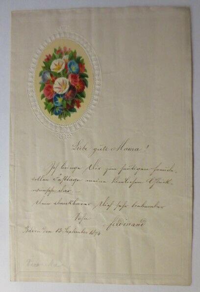 Zierbriefbogen, Briefpapier, Geburtstag, Oblate, 21,2 cm x 14 cm, Jahr 1874♥(4F)