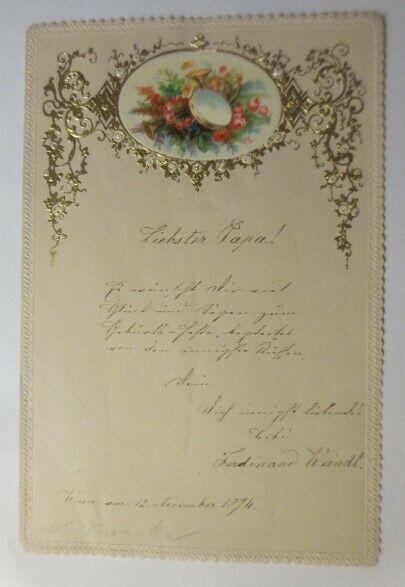 Zierbriefbogen, Geburtstag, Oblate, 20,5 cm x 13,5 cm, Jahr 1874 ♥ (5F)