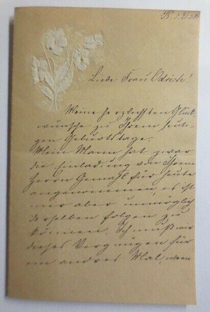 Zierbriefbogen, Geburtstag, 17,5 cm x 11,3 cm, Jahr 1889 ♥ (6F)