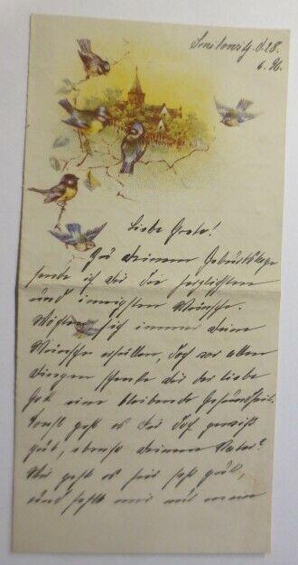Zierbriefbogen, Briefpapier, Geburtstag,  19 cm x 9 cm  Jahr 1896 ♥ (7F)