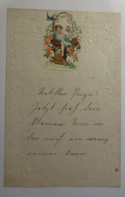 Zierbriefbogen, Briefpapier, Geburtstag, Oblate, 21,5 cm x 14 cm  Jahr 1899♥(9F)