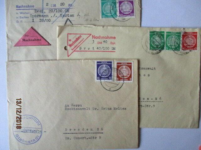 DDR Dienst, 26 interessante frankierte Belege der 50er Jahre