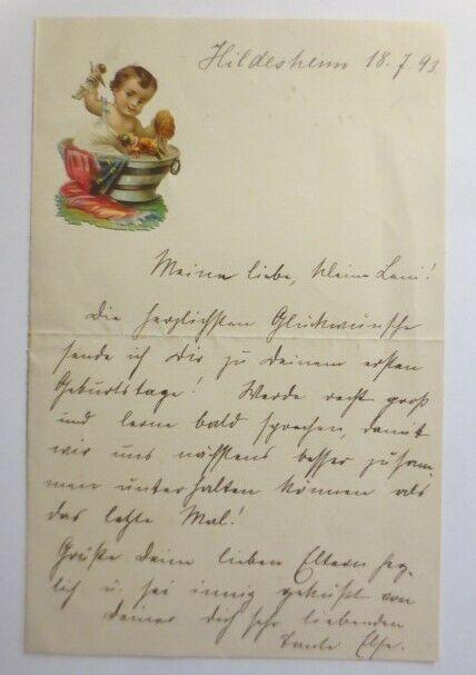 Zierbriefbogen, Briefpapier, Geburtstag, Oblate, 17,5 cm x 11 cm,  1893 ♥ (16F)