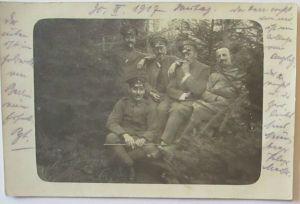 Deutsche Soldaten 1917, Fotokarte mit viel Text (61273)