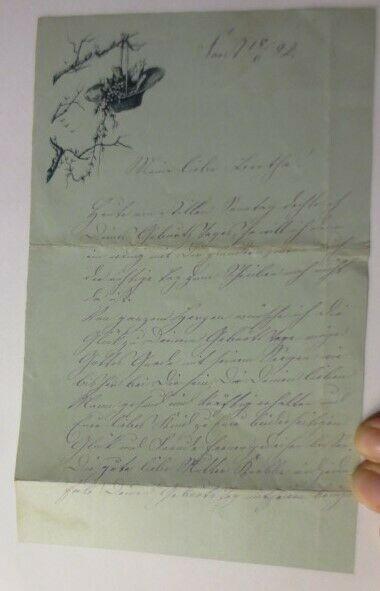 Zierbriefbogen, Briefpapier, Oblaten,   18,5 cm x 13,5 cm, Jahr 1892 ♥ (21F)
