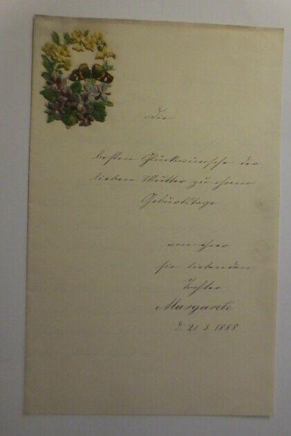 Zierbriefbogen, Briefpapier, Oblaten,   22 cm x 14 cm, Jahr 1888 ♥ (22F)