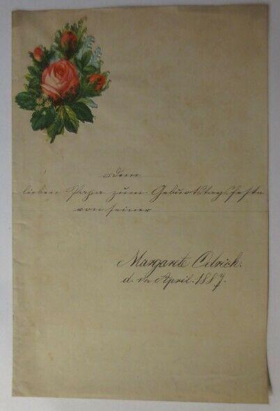 Zierbriefbogen, Briefpapier, Oblaten,   22 cm x 14 cm, Jahr 1887 ♥ (23F)