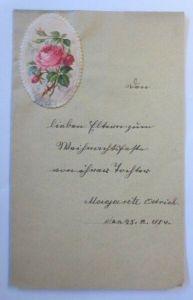 Zierbriefbogen mit Oblate Weihnachtsglückwünsche  Jahr 1884  ♥ (3G)