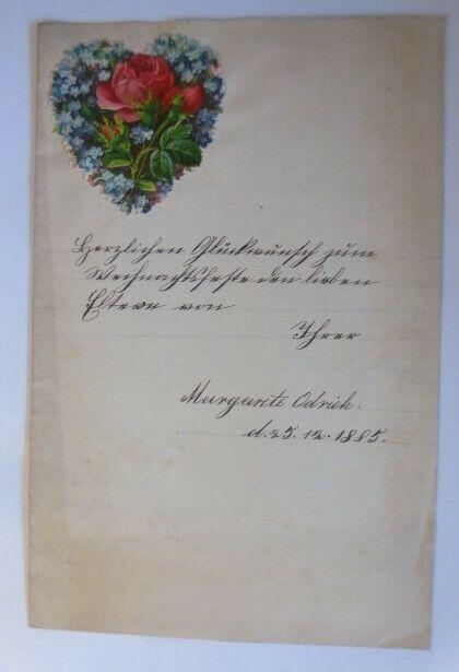 Zierbriefbogen mit Oblate Weihnachtsglückwünsche  Jahr 1885  ♥ (4G)