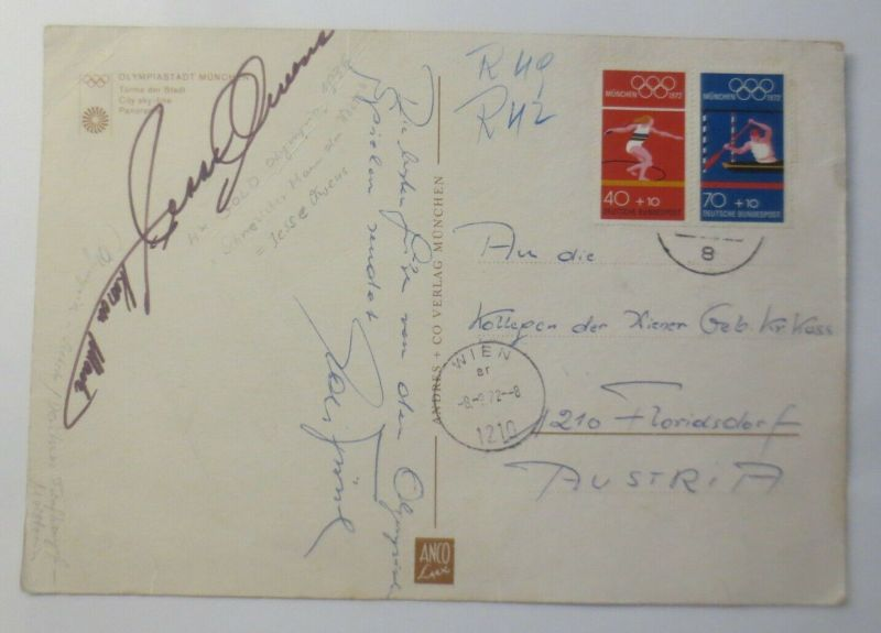 Original Autogramm Jesse Owens Olympiasieger 1936, Ehrengast Olympia 1972 ♥