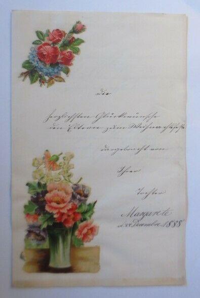 Zierbriefbogen mit Oblate Weihnachtsglückwünsche  Jahr 1888  ♥ (6G)