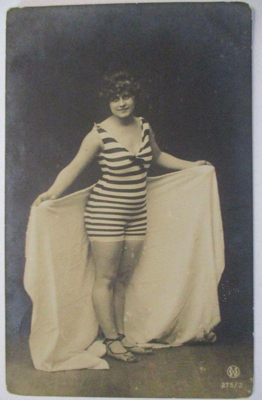 Meer, Strand, Baden, Frau Mode Bademode, 1909 (19611)