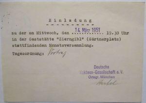 Kaktus Dt. Kakteen Gesellschaft München, Einladung Gasthaus Zierngibl (65292)