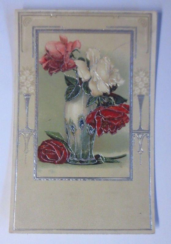 Namenstag, Vase, Rosen,    1917 ♥ (40961)