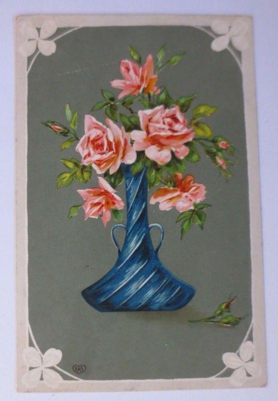 Namenstag, Vase, Rosen,      1910 ♥ (13969)