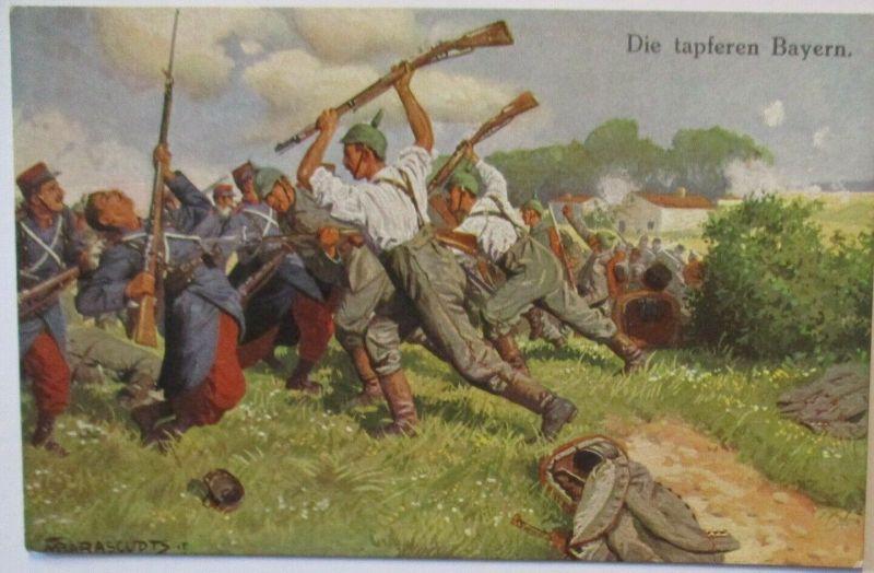 Frankreich, Die tapferen Bayern, signiert Max Barascudts (4811)