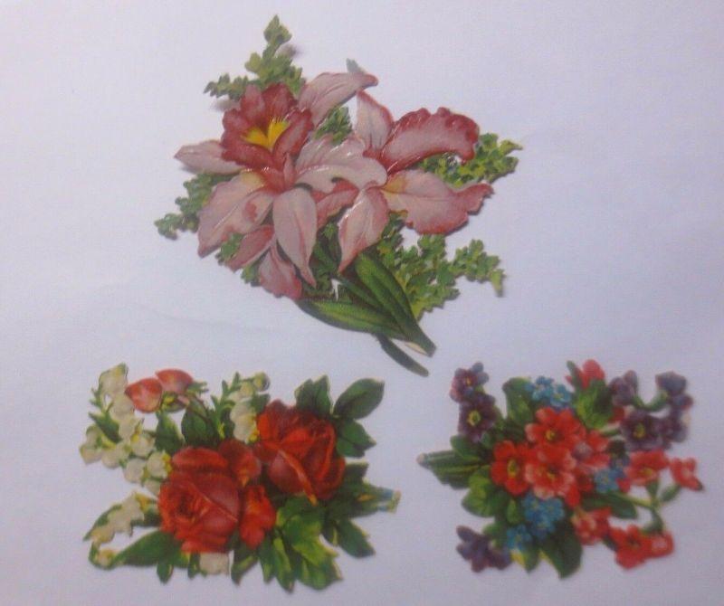Oblaten, Blumen,    8 cm x 6 cm   1930  ♥  (62213)