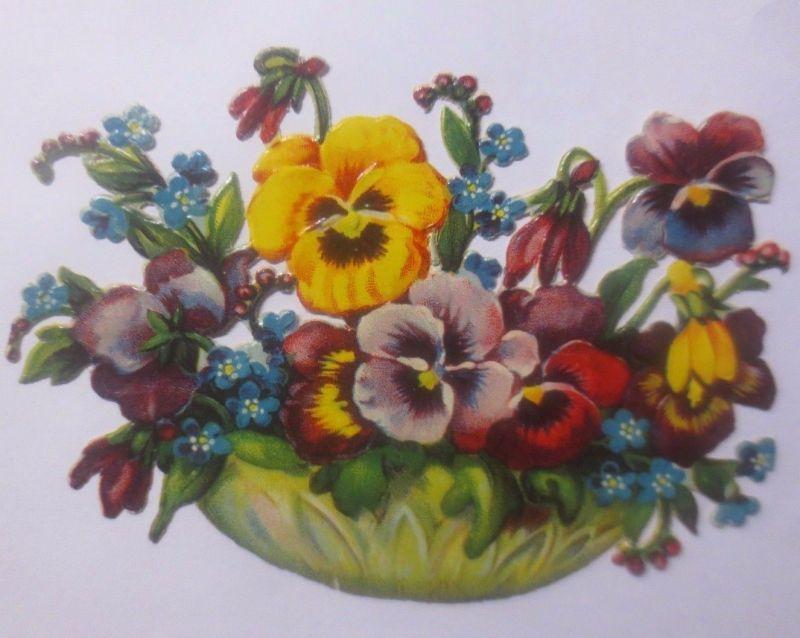 Oblaten, Blumen, Stiefmütterchen   11 cm x 7,5 cm   1930  ♥  (62211)