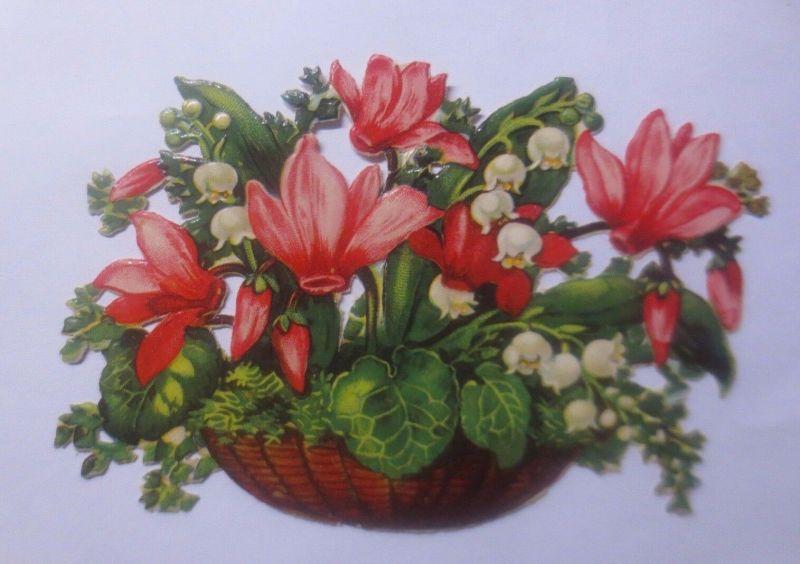 Oblaten, Blumen, Maiglöckchen,   11 cm x 8 cm   1930  ♥  (62209)